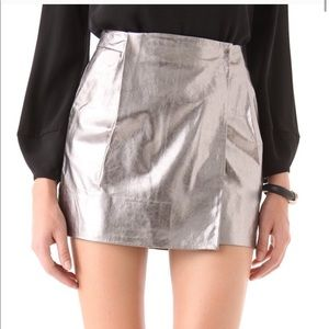 Diane VonFurstenberg leather Melissa silver skirt